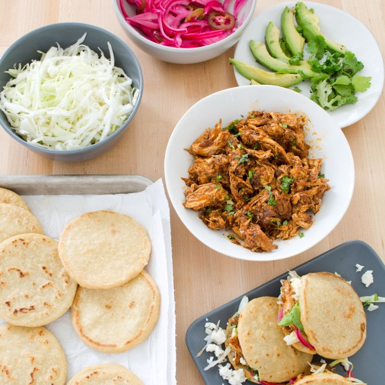 Gorditas with Chicken with Pickled Onion and Cabbage Filling