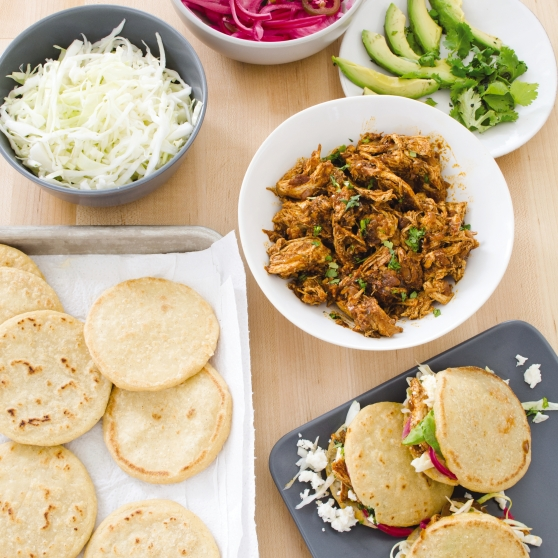 Chicken with Pickled Onion and Cabbage Gorditas